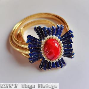Schreiner radiating keystone ruffle cross pin large oval center hook eye lapis keystone faux pearl surrounding red art glass large oval center goldtone jewelry