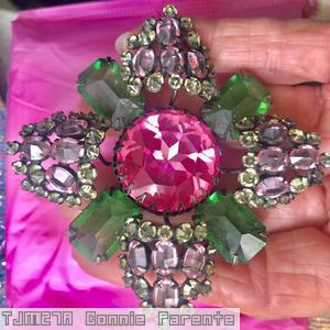 Schreiner 4 large emerald cut double cross pin large chaton center 4 large arrow emerald large 4 sided stone large pink faceted chaton pink clear champagne jewelry