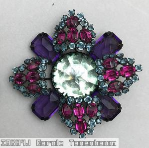 Schreiner 4 large emerald cut double cross pin large chaton center 4 large arrow fuchsia purple pale blue crystal jewelry