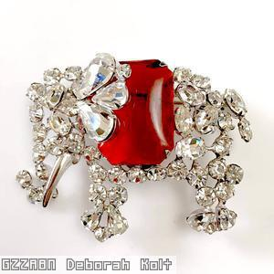 Schreiner elephant pin large elongated hexagon stone metal task crystal ruby large elongated hexagon stone silvertone jewelry