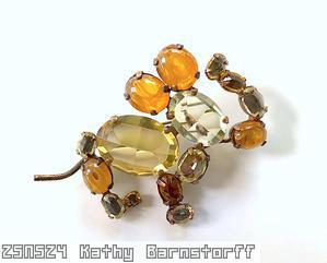 Schreiner elephant trembling trunk large oval cab body marbled amber clear champgne metalic brown jewelry