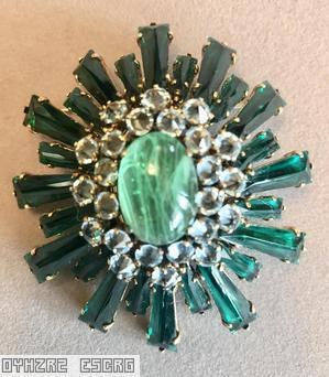 Schreiner oval high domed keystone ruffle pin large oval center varied length keystone emerald keystone 2 rounds inverted ice blue stone marbled green large oval cab center jewelry