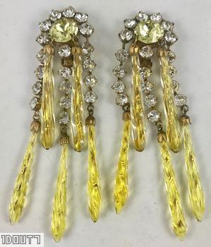 Schreiner 3 long tassel 2 dangling earring 5 long teardrop art glass large chaton top lime twisted long teardrop art glass crystal small chaton large ice yellow faceted chaton goldtone jewelry