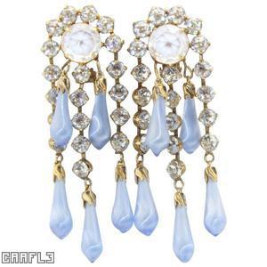 Schreiner 3 long tassel 2 dangling earring 5 long teardrop art glass large chaton top moonglow blue long teardrop art glass crystal chaton goldtone jewelry